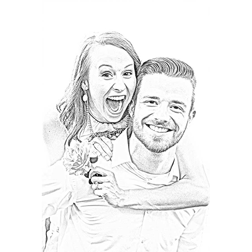 Pencil Art – Digital – Small – For Couple
